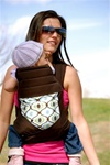 BabyHawk Mei Tai Baby Carrier - Feeling Groovy on Espresso