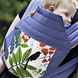 BabyHawk Mei Tai Baby Carrier - Birdsong on Steely Blue Straps