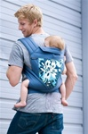 BabyHawk Mei Tai Baby Carrier - Navy Wildflowers on Steely Blue Straps