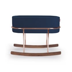 Monte Rockwell Bassinet Navy Velvet Copper Base