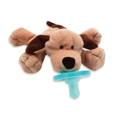 Wubbanub Infant Plush Toy Pacifier Brown Puppy